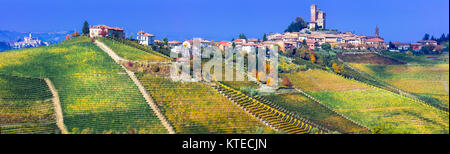 Impressive Serralunga d' Alba village,view with vineyards and castle,piemonte,italy. - Stock Photo