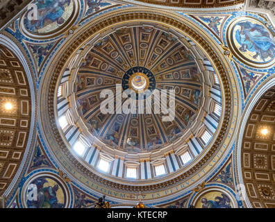 Interior of the dome of St Peter's Basilica, Vatican City, Rome, Italy - Stock Photo