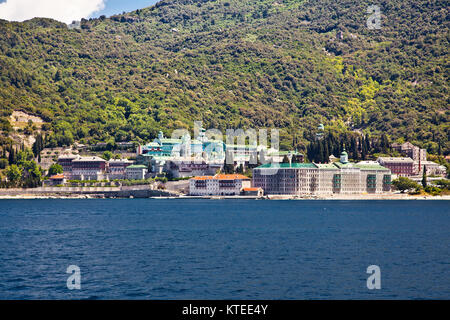 Russian St. Pantaleon Orthodox monastery at Mount Athos, Agion Oros (Holy Mountain), Chalkidiki, Greece. - Stock Photo