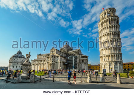 The Square of Miracles, or Piazza dei Miracoli in Pisa Italy with the Leaning Tower, Duomo Cathedral, Camposanto - Stock Photo