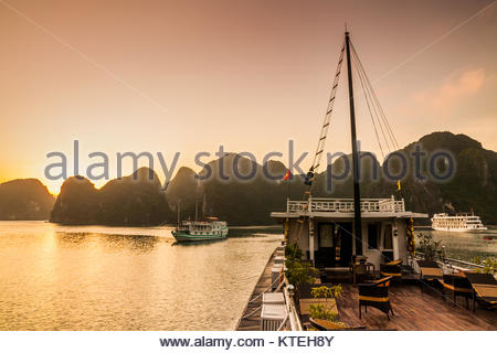 View of cruise ships and islands in Halong Bay, Vietnam - Stock Photo
