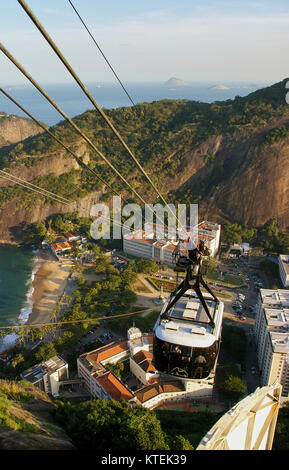 Cable car on the way to Sugar Loaf, Brazil - Stock Photo