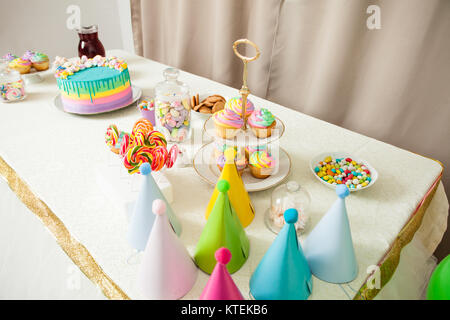 Decorated table in the room for Happy Birthday Party without people - Stock Photo