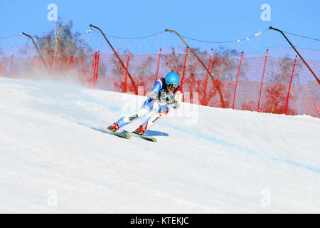 Magnitogorsk, Russia - December 19, 2017: athlete skier in super giant slalom during National Cup alpine skiing - Stock Photo