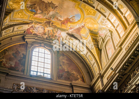 Sant Ignazio Church painted ceilings by painter Andrea Pozzo in Rome - Stock Photo