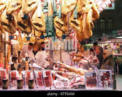 Spanish hams.Jamón Ibérico Pata negra pigs Mercat Central Valencia Spain - Stock Photo