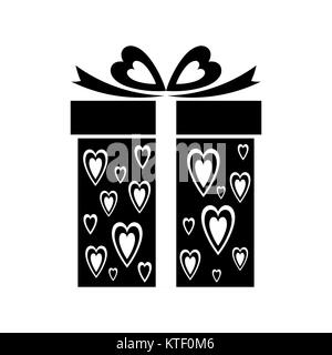 Gift icon with heart pattern Vector sign gift box - Stock Photo