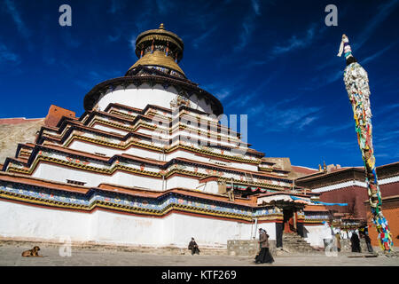 Kumbum chorten at Pelkor Chode Monastery, Gyantse, Tibet - Stock Photo
