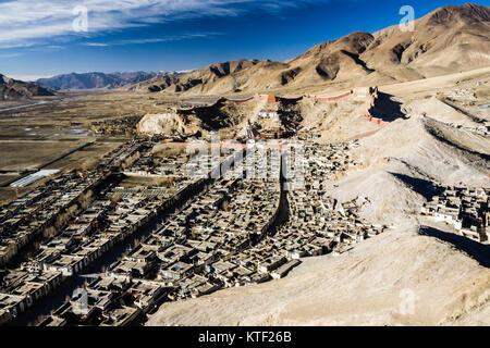 Gyantse overview with Pelkor Chode Monastery. Tibet - Stock Photo