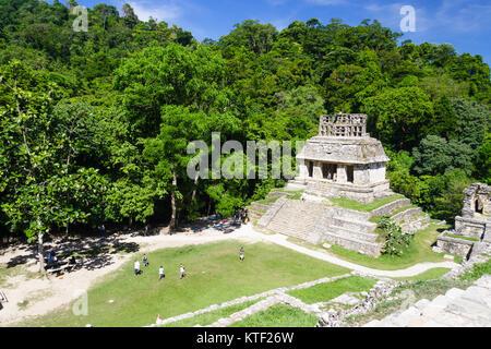 Temple of the Sun. Palenque, Chiapas, Mexico - Stock Photo