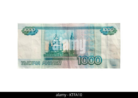 1000 rubles isolated on white background. one thousand rubles old banknote - Stock Photo