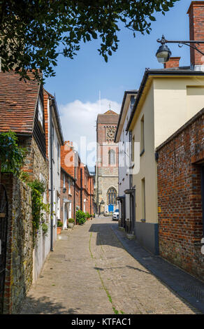 Lombard Street, a quaint, old-fashioned narrow cobbled alley, Petworth town centre, a small town and antiques centre in West Sussex, southeast England