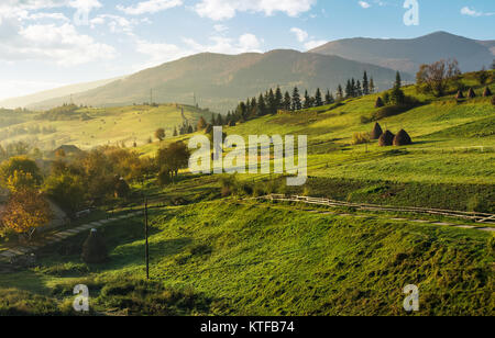 agricultural fields on slopes on foggy morning. beautiful rural scenery in mountainous area - Stock Photo
