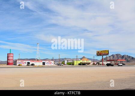 Amargosa Valley, Nevada, United States of America - November 24, 2017. Desert truck stop in Amargosa Valley with - Stock Photo