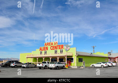 Amargosa Valley, Nevada, United States of America - November 24, 2017. Exterior view of Area 51 Alien Center in - Stock Photo