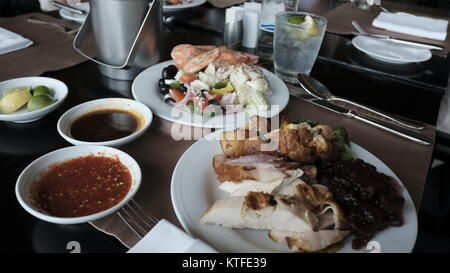 Luxury Hot Food International Smorgasbord Culinary Delights Western And Asian Cuisine a variety of Main Dishes Five - Stock Photo
