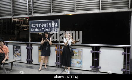 BTS Skytrain Saphan Taksin Station Bangkok Thailand dec 2017 - Stock Photo