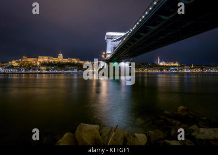 View from Chain bridge and Buda castle in Budapest - Stock Photo