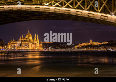 Danube river with Hungarian parliament view at night - Stock Photo