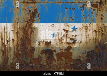 Realistic illustration of Honduras flag on dirty, rusty, grunge metallic surface. 3D rendering. - Stock Photo