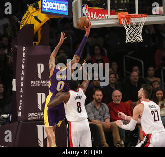 Los Angeles, CA, USA. 23rd Dec, 2017. Los Angeles Lakers forward Kyle Kuzma (0) going to the basket during the first - Stock Photo