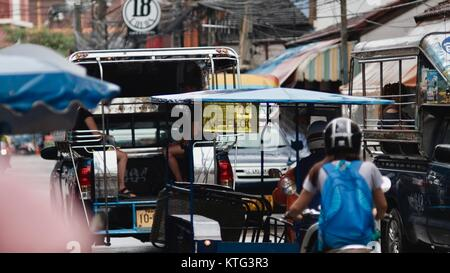 Pattaya Thailand Most Dangerous Intersection Soi Buakhao, Soi Diana and Soi Lengkee the New Tourist Area Rain DayGloomy - Stock Photo
