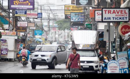 Pattaya Thailand Most Dangerous Intersection Soi Buakhao, Soi Diana and Soi Lengkee the New Tourist Area - Stock Photo