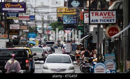 Pattaya Thailand Most Dangerous Intersection Soi Buakhao, Soi Diana and Soi Lengkee the New Tourist Area Rain DayGloomy - Stock Photo