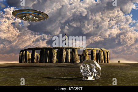 A Crystal Skull & Ancient Aliens - Stock Photo