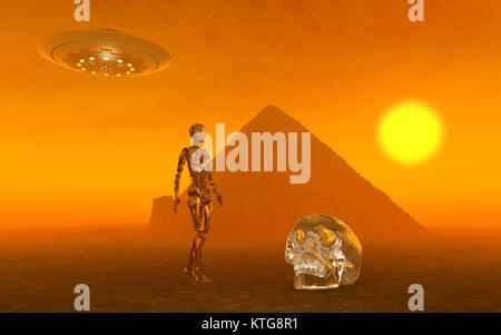 A Crystal Skull & Ancient Aliens - Stock Photo
