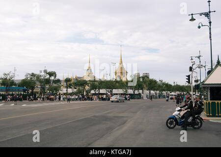 A city view of Bangkok with The Royal Crematorium at Sanam Luang seen from Ratchadamnoen Nai Road. - Stock Photo