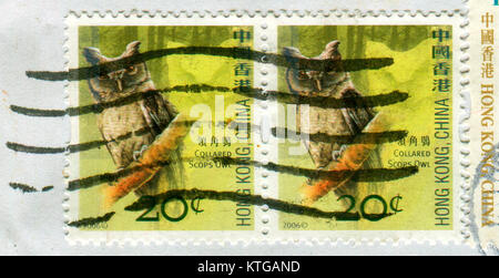 GOMEL, BELARUS, 19 NOVEMBER 2017, Stamp printed in HONG KONG, China shows image of the Collared Scops Owl, circa - Stock Photo