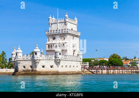Belem tower - one of the most popular tourist attractions of Lisbon, Portugal. It was built in the early 16th century - Stock Photo