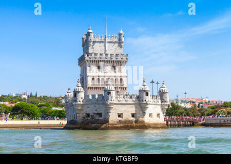 Belem tower or the Tower of St Vincent, one of the most popular tourist attractions of Lisbon, Portugal. It was - Stock Photo