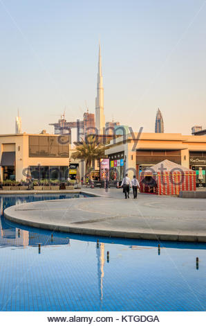 View of City Walk Dubai and Burj Khalifa in Old Dubai. - Stock Photo