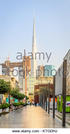 View of City Walk Dubai and Burj Khalifa in Old Dubai. - Stock Photo