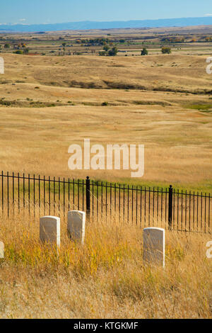 U.S. soldier headstone markers at Last Stand Hill, Little Bighorn Battlefield National Monument, Montana - Stock Photo