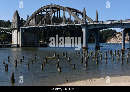 The Siuslaw River Bridge in Florence, Oregon, United States - Stock Photo