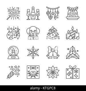New Year thin line icon set. Christmas linear symbol pack. Outline sign without fill. Editable stroke. Simple pictogram - Stock Photo