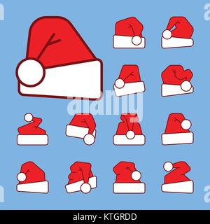 Santa hat outline with red color fill icon set. Vector linear symbol pack.  Editable stroke christmas holidays clothes - Stock Photo