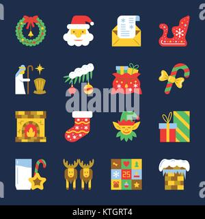 Colorful Cristmas icon set. New year flat design symbol collection. Color concept for web, card, print, tag, poster, - Stock Photo