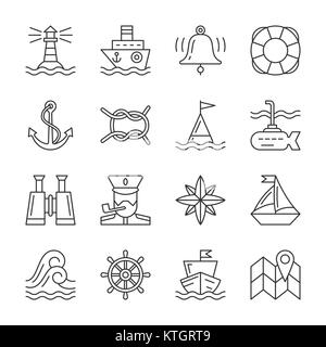 Nautical thin line icon set. Marine linear symbol pack. Outline navigation, captain, accessories of navy, ship sign. - Stock Photo