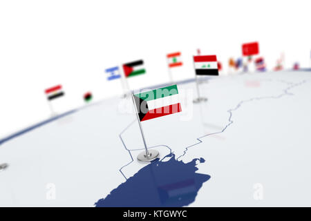 Kuwait flag. Country flag with chrome flagpole on the world map with neighbors countries borders. 3d illustration - Stock Photo