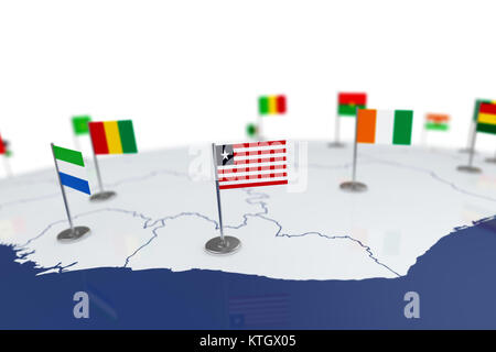 Liberia flag. Country flag with chrome flagpole on the world map with neighbors countries borders. 3d illustration - Stock Photo