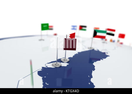 Qatar flag. Country flag with chrome flagpole on the world map with neighbors countries borders. 3d illustration - Stock Photo