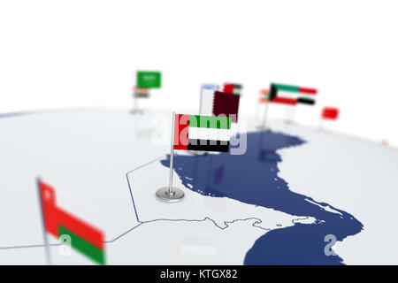 United Arab Emirates flag. Country flag with chrome flagpole on the world map with neighbors countries borders. - Stock Photo