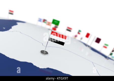 Yemen flag. Country flag with chrome flagpole on the world map with neighbors countries borders. 3d illustration - Stock Photo