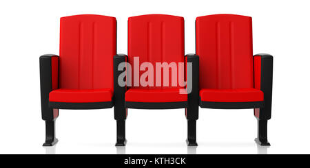 red theater chairs isolated on white background perspective view