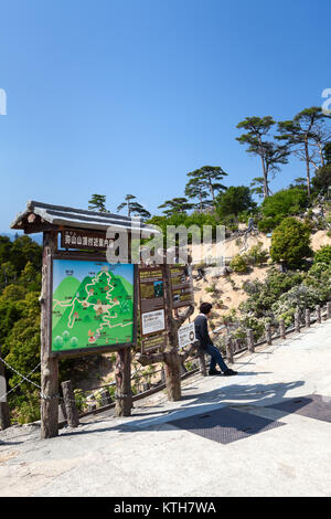 ITSUKUSHIMA, JAPAN-CIRCA APR, 2013: The map of hiking trails leading up on the top of Misen mountain. It is near - Stock Photo