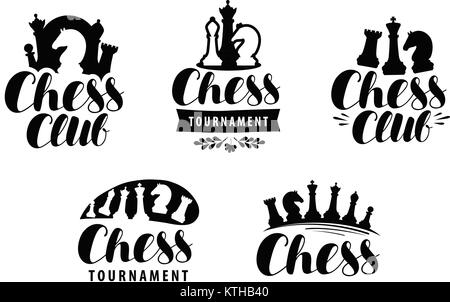Chess club, logo or label. Game, tournament icon. Typographic design, lettering vector - Stock Photo
